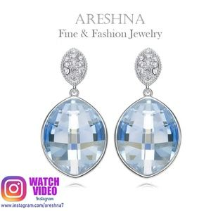 S925 Sky Blue Crystals Drop Earrings